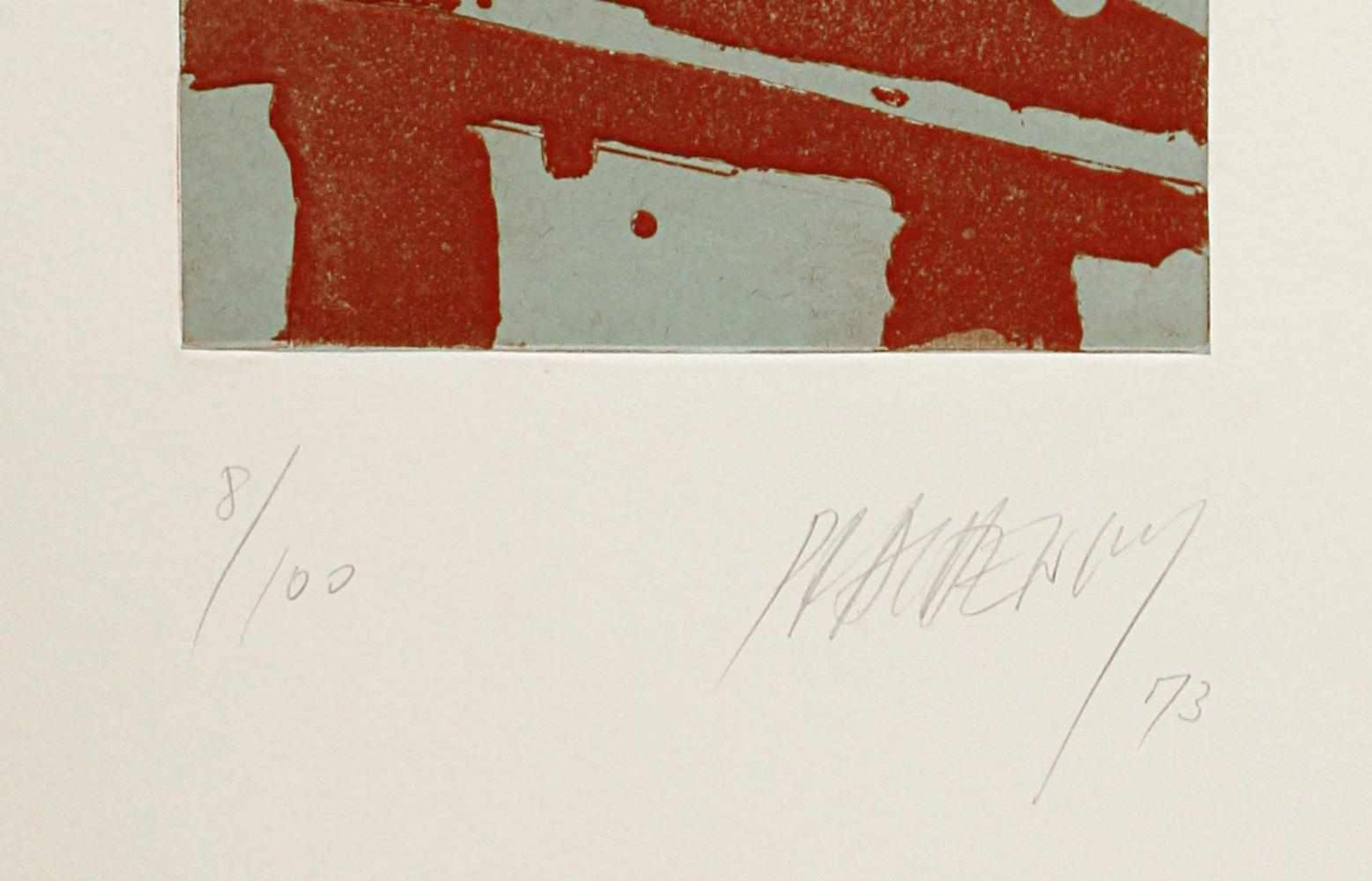 Markus Prachensky 1932-2011 o.T. 1973 Farbradierung handsigniert und nummeriert 55/100 34,5 x 25 cm - Bild 2 aus 2