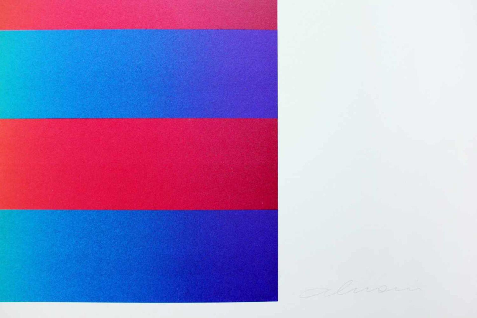 Getulio Alviani geb. 1937 o.T. Farbserigrafie handsigniert und nummeriert XLV/L (45/50) 71 x 100 cm - Bild 3 aus 4