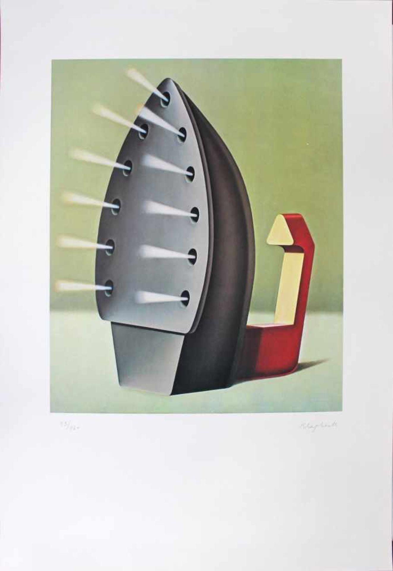 Konrad Klapheck geb. 1935 Bügeleisen / Dragon du foyer 1980 Farblithographie handsigniert und
