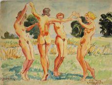 Karl Ottmar Kratochwill geb. 1910 Der Reigen 1932 Öl auf Papier handsigniert, datiert und betitelt