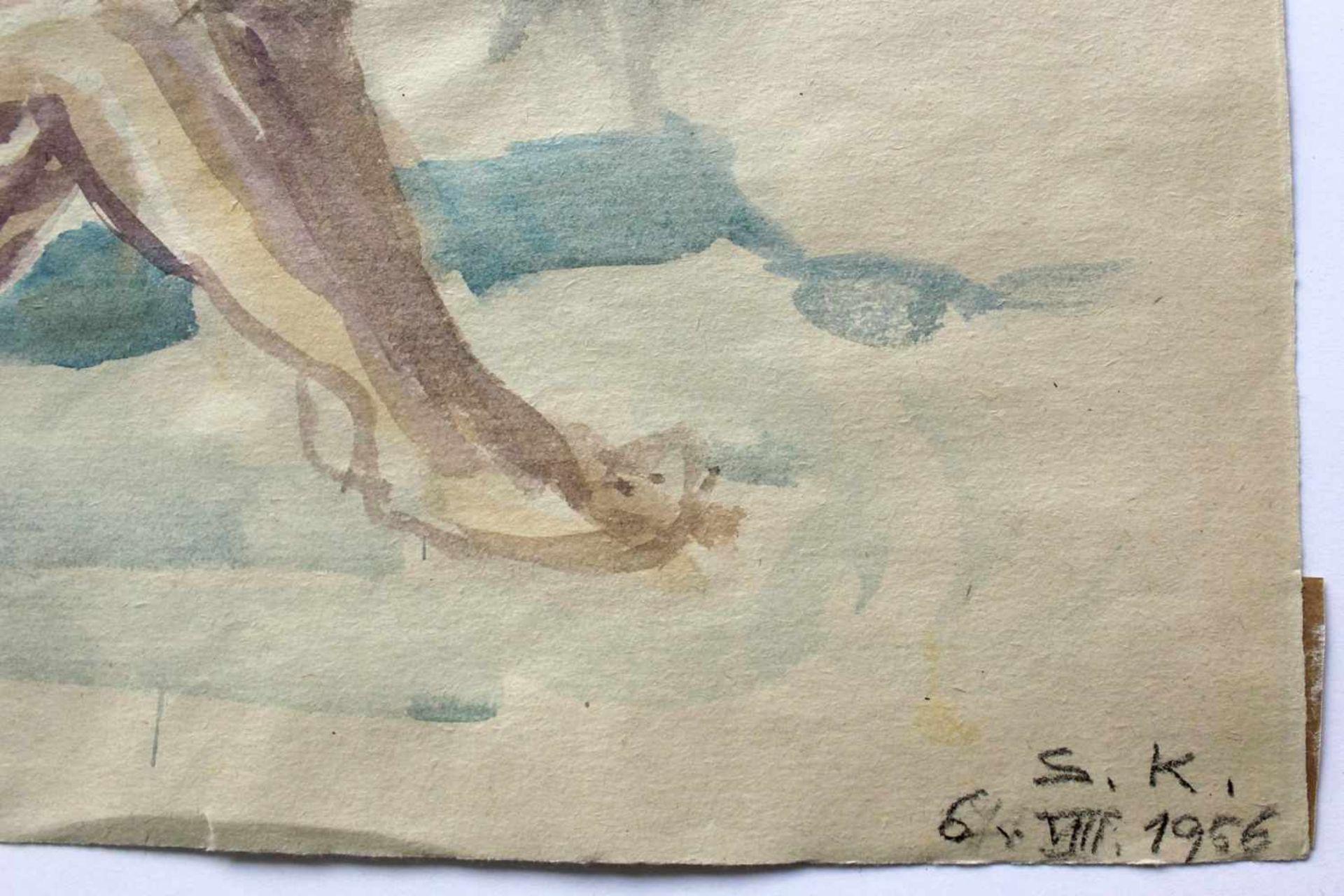 Silvia Koller 1942-2010 Aktstudie 1 1956 Aquarell monogrammiert und datiert (S.K. 6 VIII 1956) 30 - Bild 2 aus 3