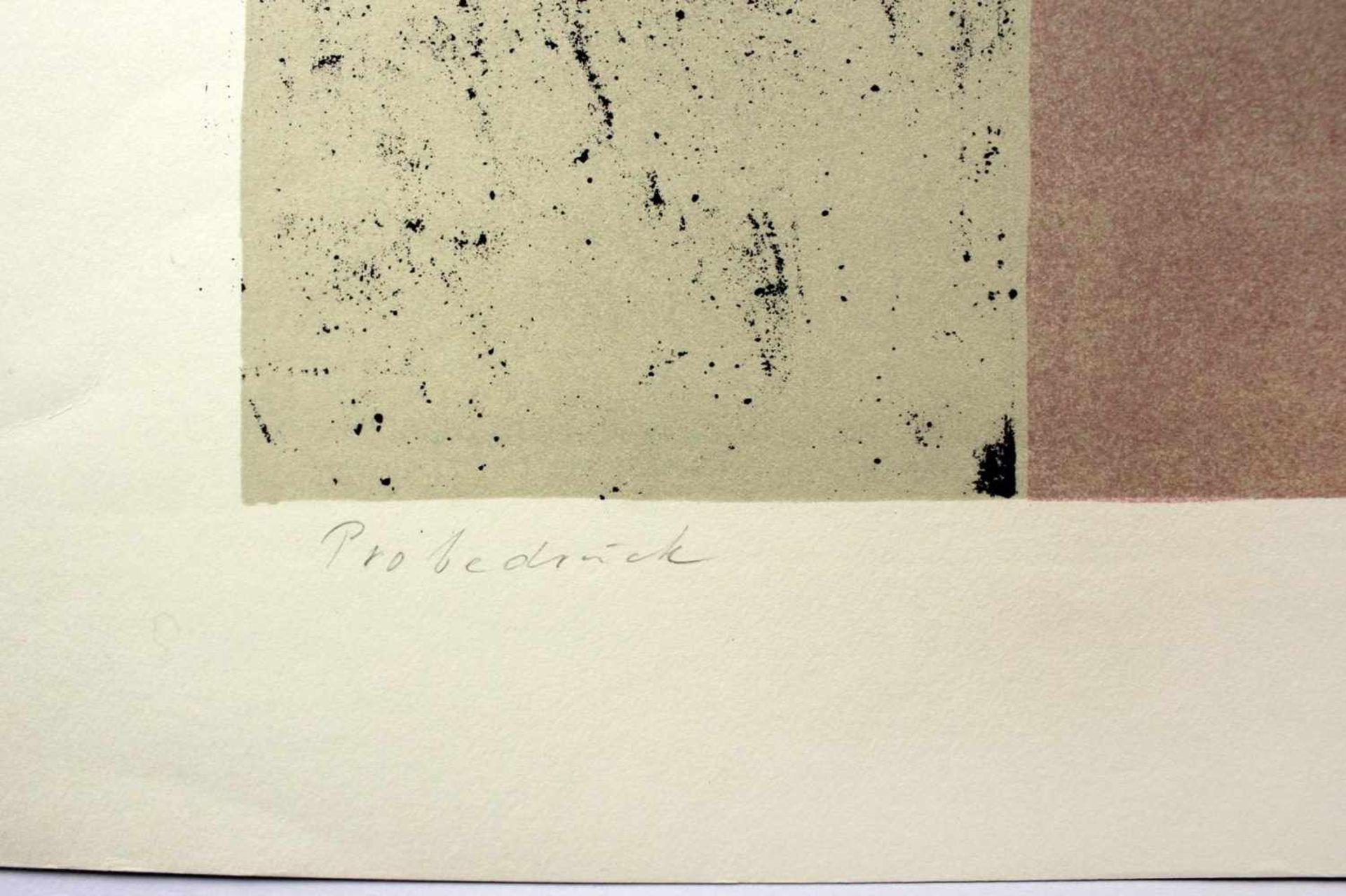 Karl Korab geb. 1937 o.T. 1972 Farblithographie handsigniert, Probedruck 45 x 62,5 cm - Bild 3 aus 3