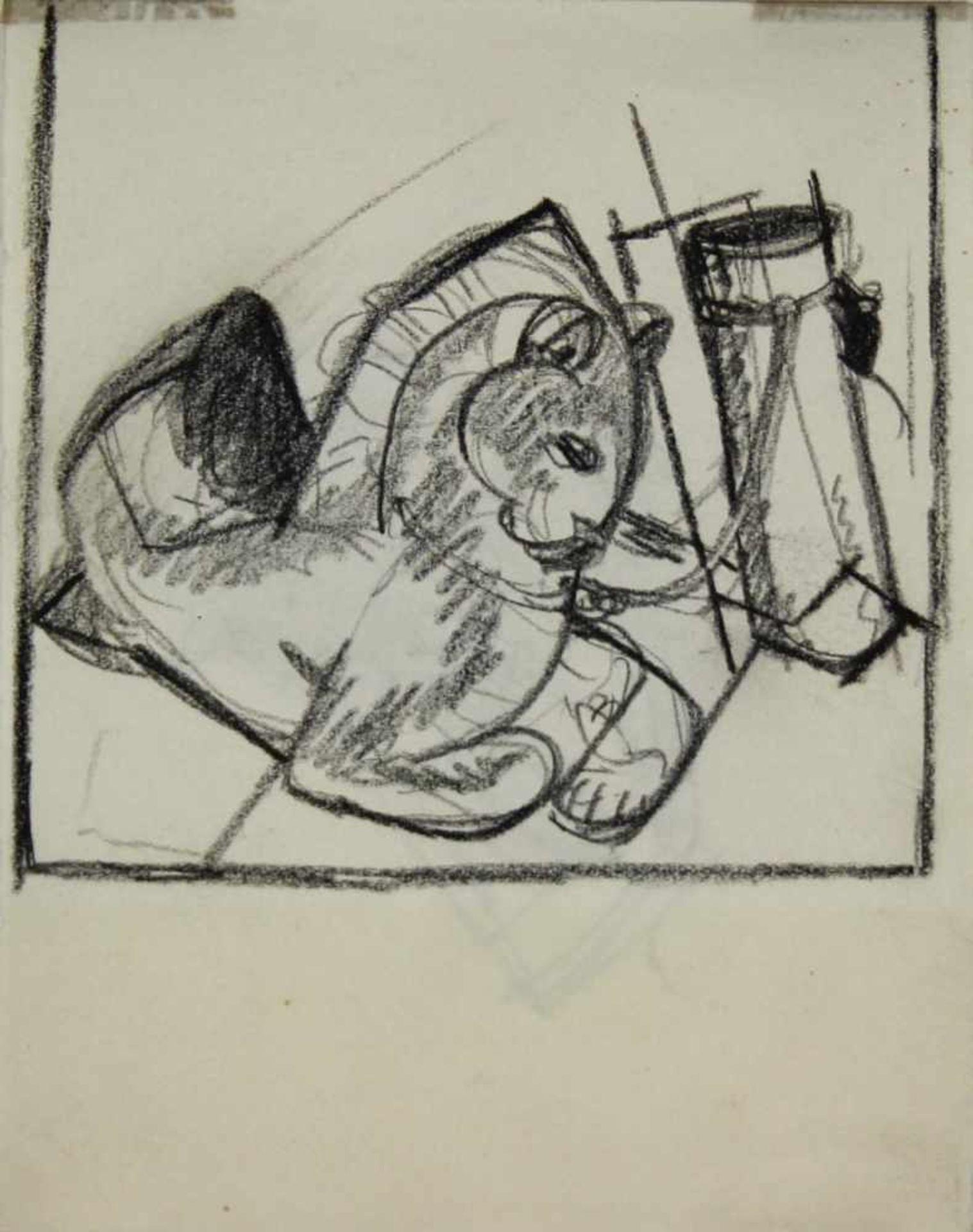 Ludwig Heinrich Jungnickel 1881-1965 Katz & Maus Graphit 16 x 12,5