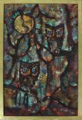 H. Thölke Eulen 1967 Acryl auf Leinwand signiert 72 x 46 cm