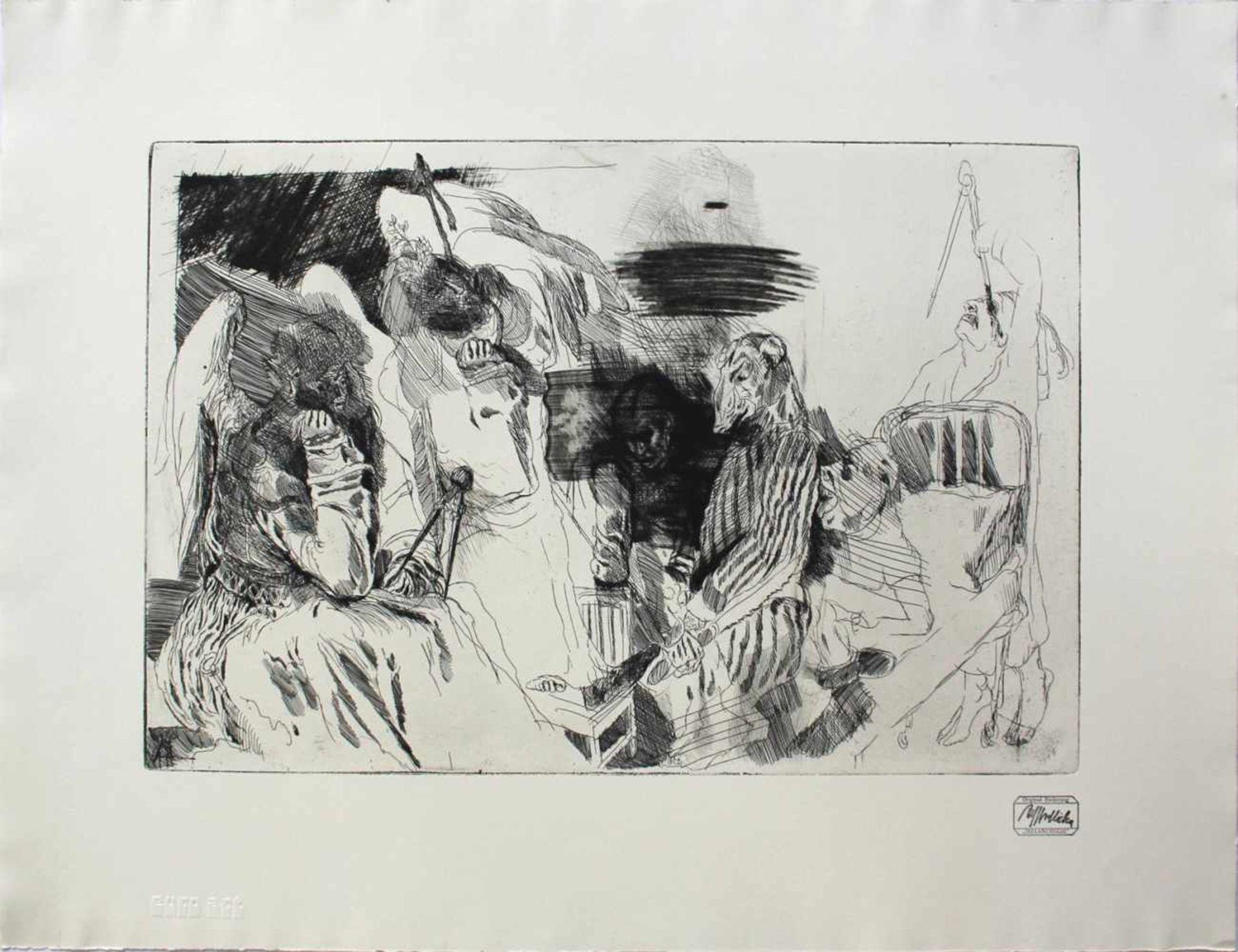 Alfred Hrdlicka 1928 - 2009 Melancholie Radierung Stempelsigniert und betitelt 50 x 65 cm