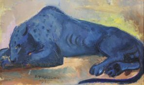 Stefan Praschl 1910-1994 Panther 1950 Öl auf Karton signiert und datiert 30 x 51 cm
