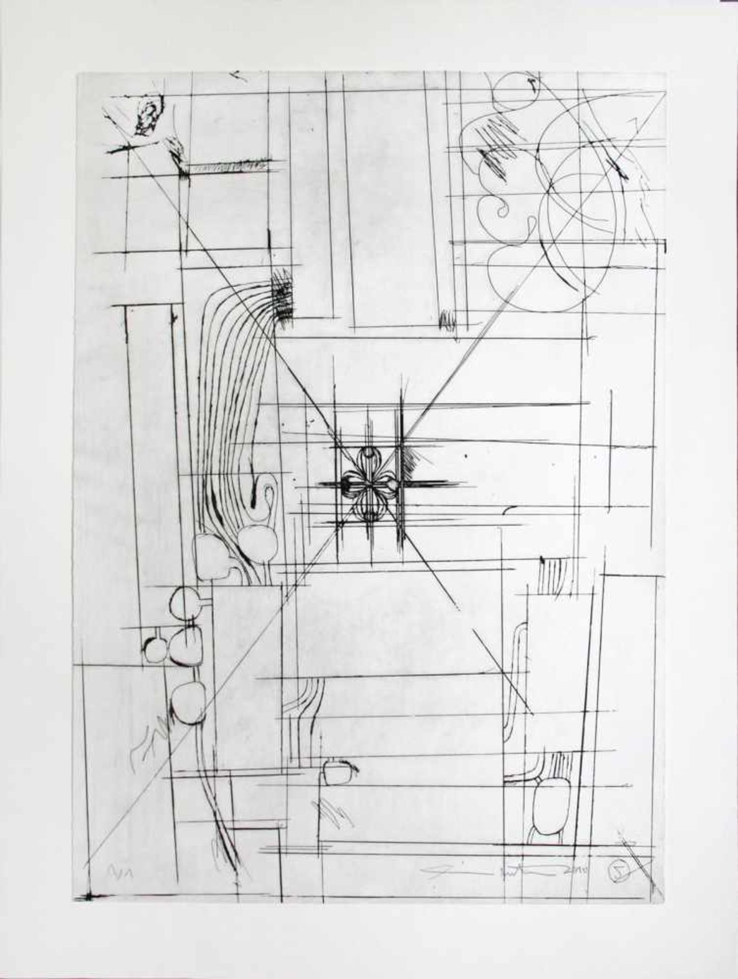 Hermann Nitsch geb. 1938 o.T. 2010 Kaltnadelradierung handsigniert und nummeriert 1/1 68 x 48 cm - Bild 2 aus 4