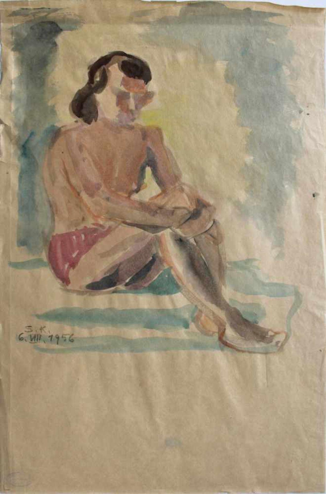 Silvia Koller 1942-2010 Aktstudie 3 1956 Aquarell monogrammiert und datiert (S.K. 6 VIII 1956) 56