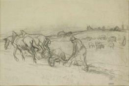 Oswald Roux 1880-1961 Pferde am Acker Graphit Nachlassstempel 46 x 70 cm