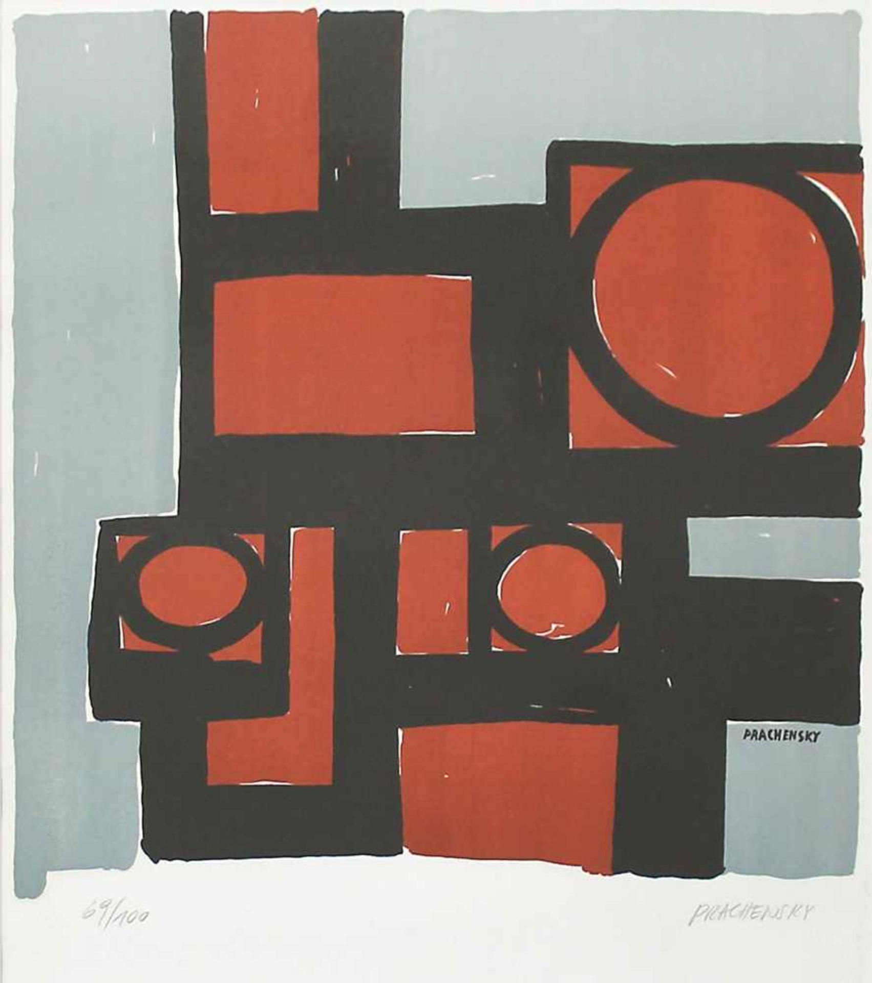 Markus Prachensky 1932-2011 Geometrische Komposition 1950/60 Farblithographie handsigniert und - Bild 2 aus 4