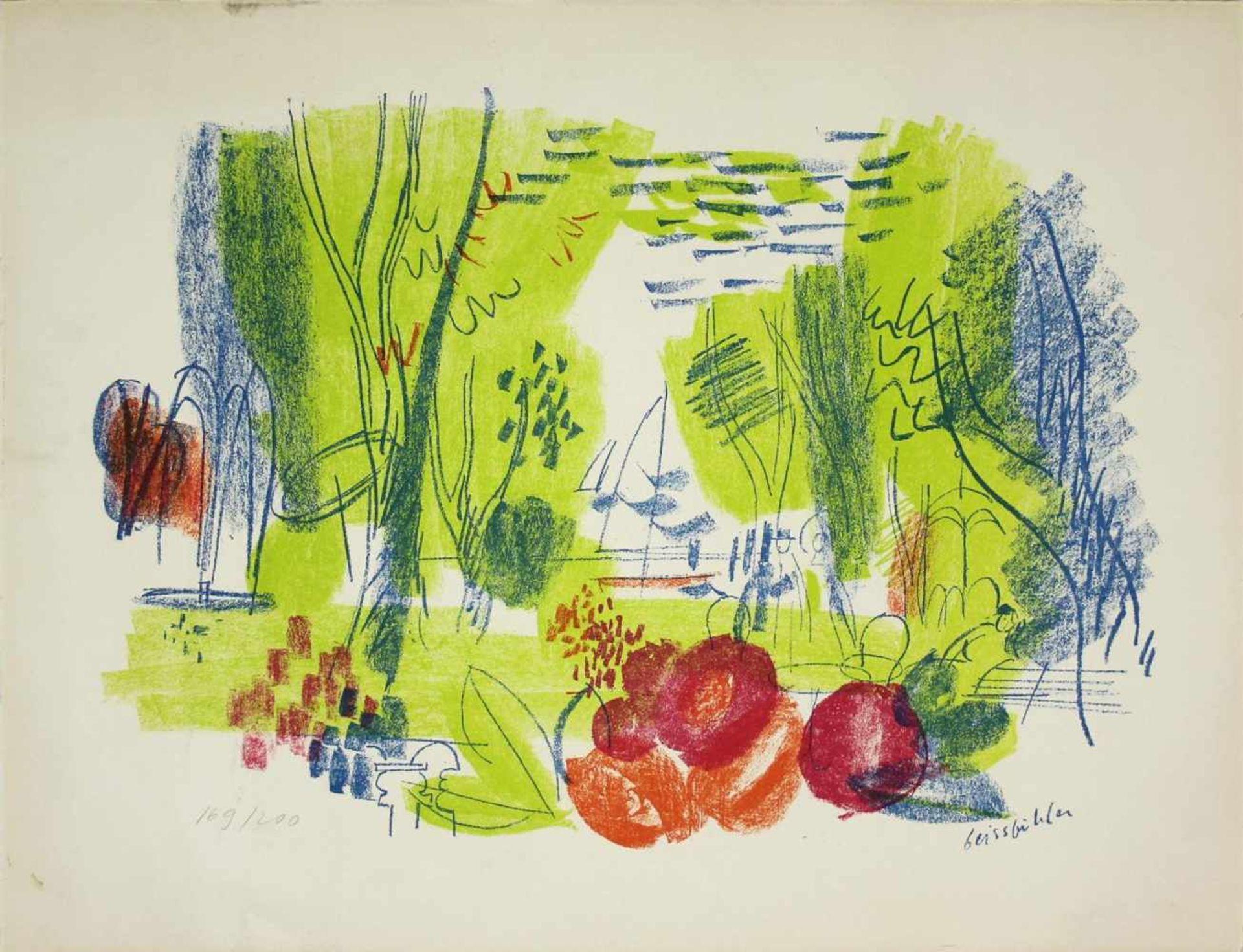 Geisbichler Landschaft Lithographie Signatur in Druckplatte, nummeriert 169/200 50 x 65 cm
