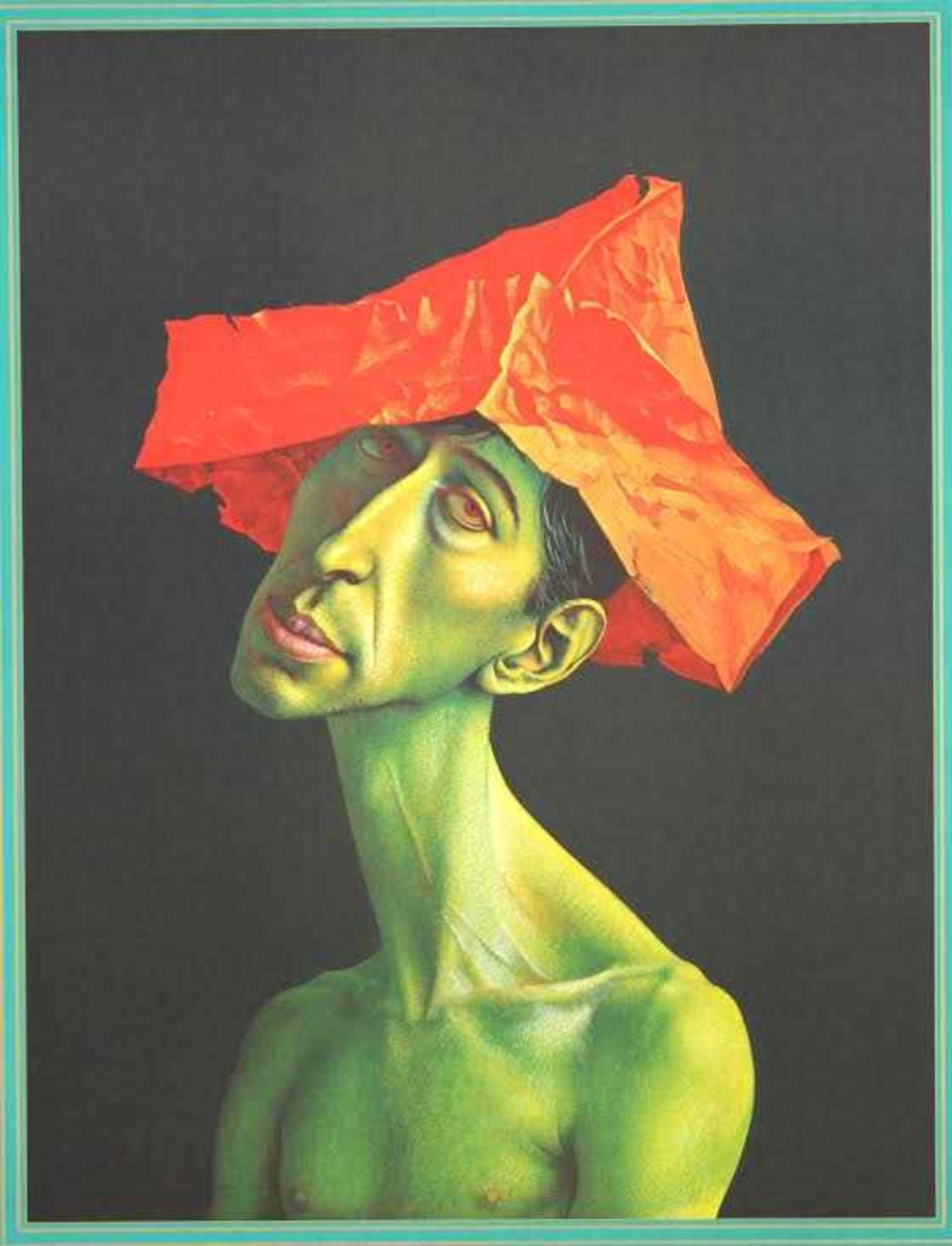 Rudolf Hausner 1914 - 1995 Trauriger Europäer Farbserigraphie handsigniert, betitelt und - Bild 2 aus 4