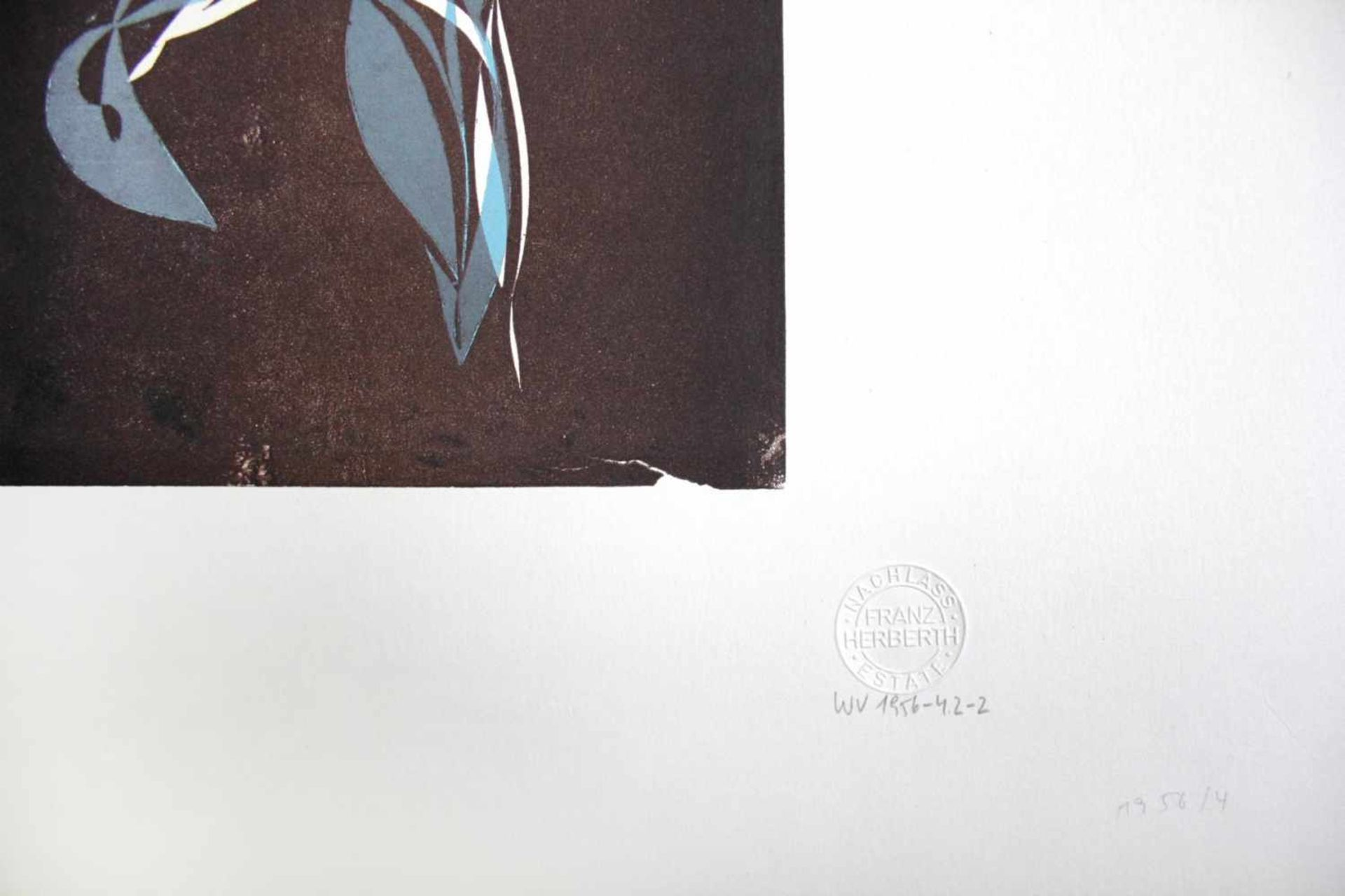 Franz Herbert geb. 1953 o.T. Linolschnitt Nachlass-Prägestempel 57 x 44 cm - Bild 2 aus 2