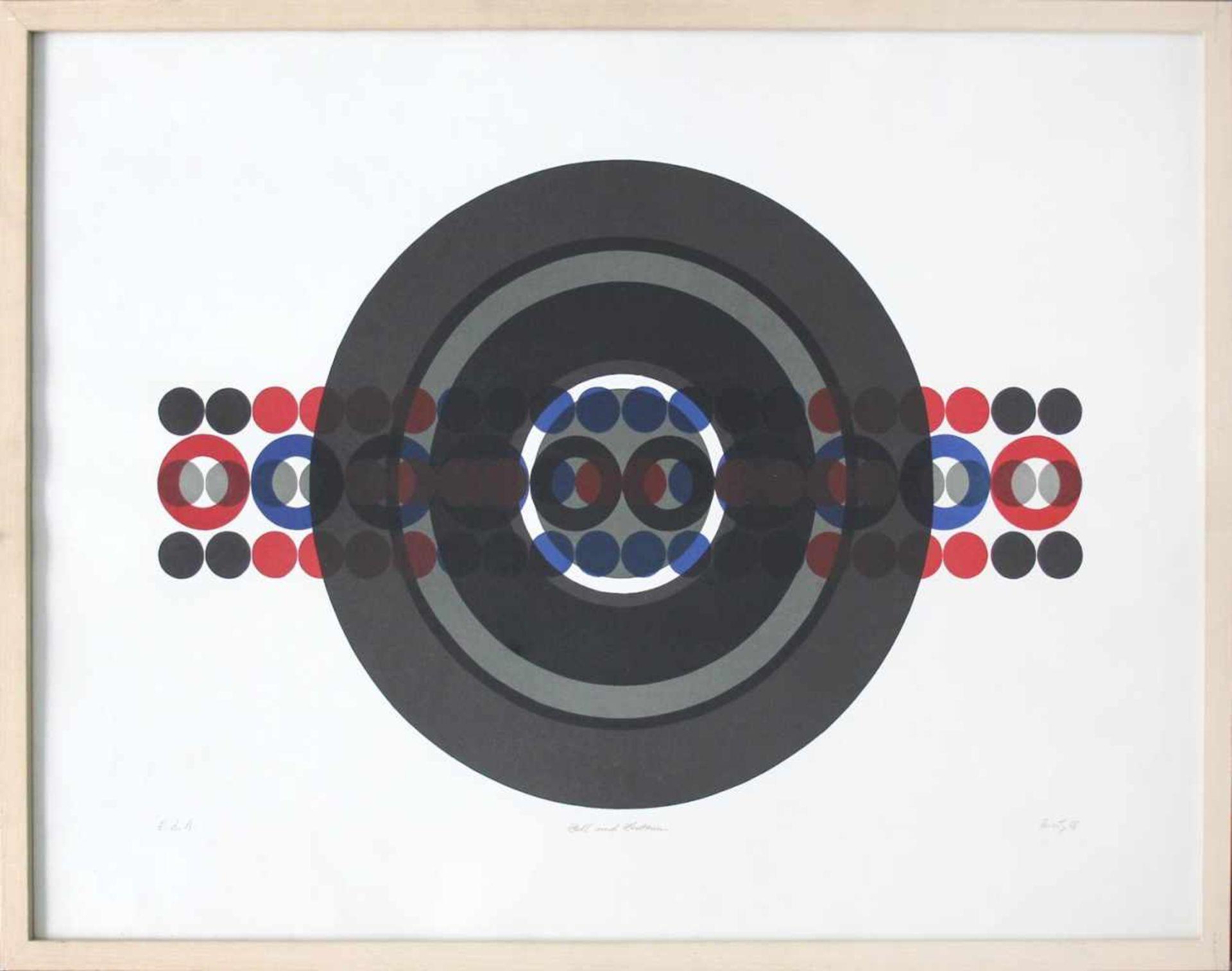 Hermann J. Painitz geb. 1938 Zahl und Zentrum 1968 Farbserigraphie handsigniert, betitelt, datiert - Bild 2 aus 5