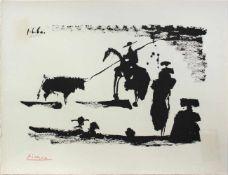 """Pablo Picasso 1881 - 1973 """"Corrida - Avant la pique"""" 1960 Pochoir Lithographie stempelsigniert,"""