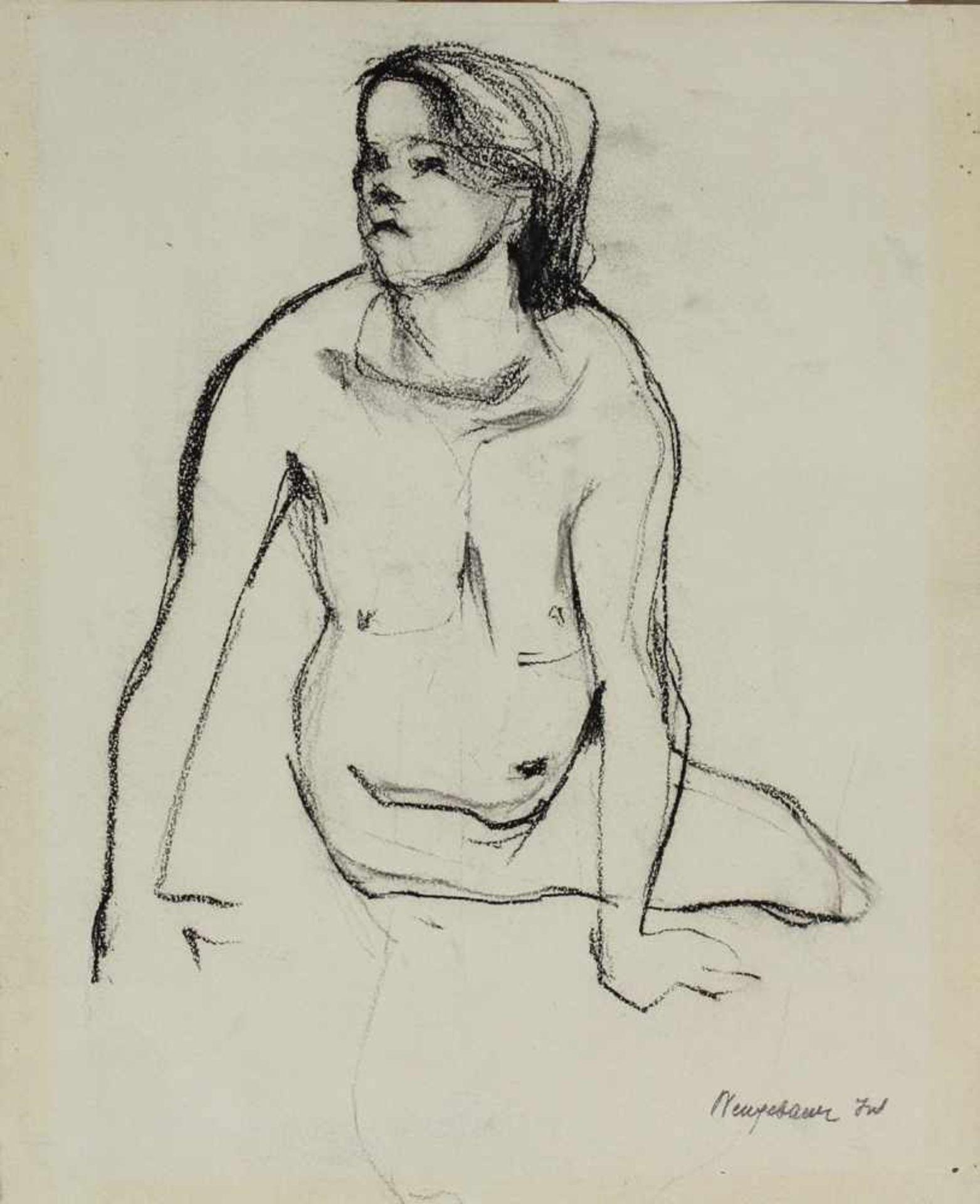 Marianne Neugebauer-Iwanska 1911-1997 Akt Graphit signiert 38 x 31 cm