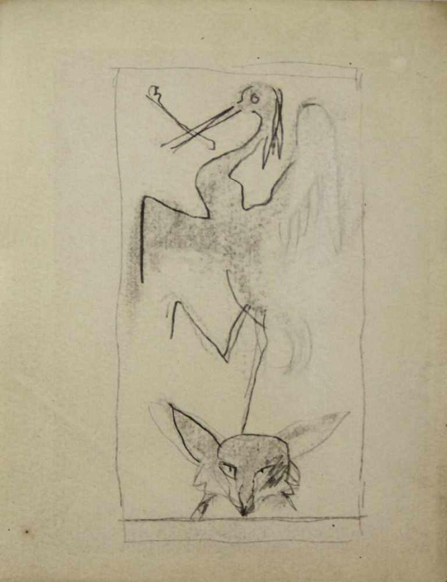 Ludwig Heinrich Jungnickel 1881-1965 Reier & Fuchs Graphit 16 x 12,5