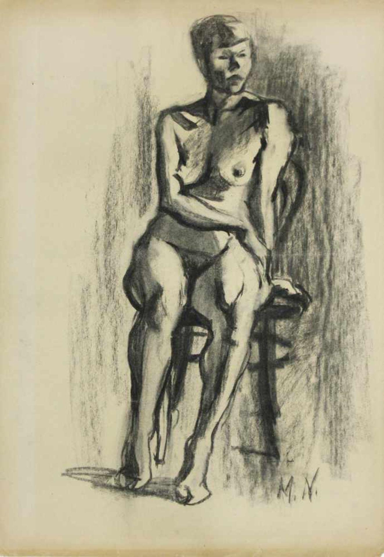 Marianne Neugebauer-Iwanska 1911-1997 Sitzende Kohle monogrammiert 60 x 40 cm