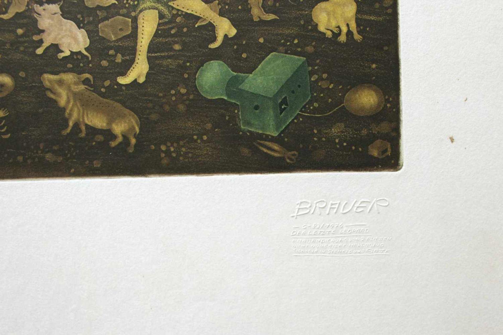 Arik Brauer geb. 1929 Der letzte Leopard 1976/C-83 Radierung Prägestempel Arik Brauer, Signatur in - Bild 2 aus 3