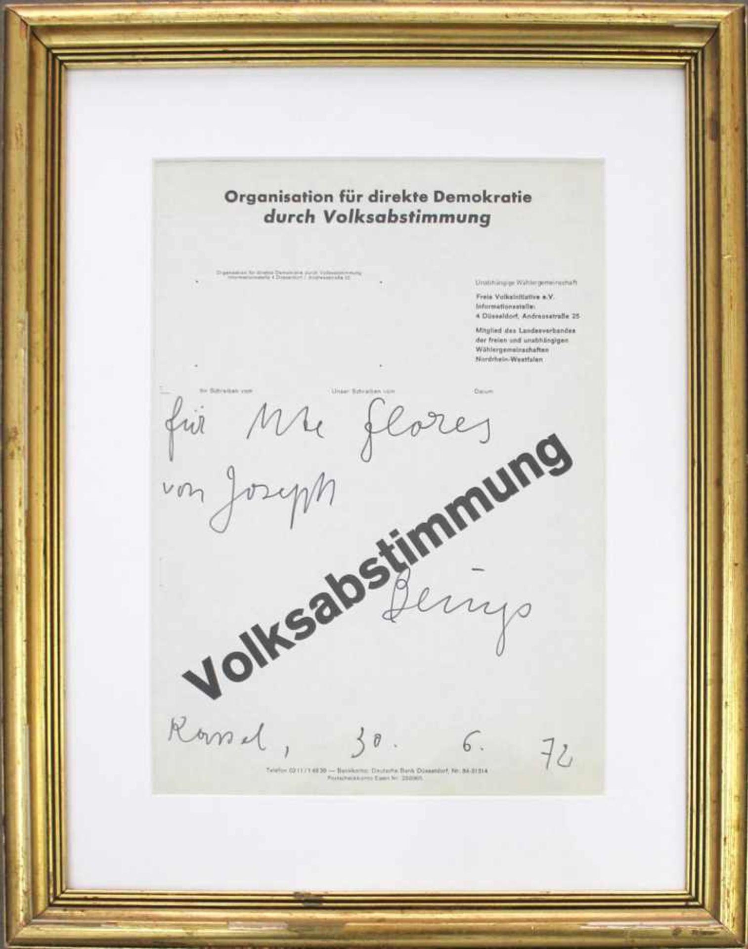 """Joseph Beuys 1921 - 1986 Volksabstimmung 1972 Widmung auf Offset-Plakat handschriftliche Widmung ("""" - Bild 2 aus 3"""