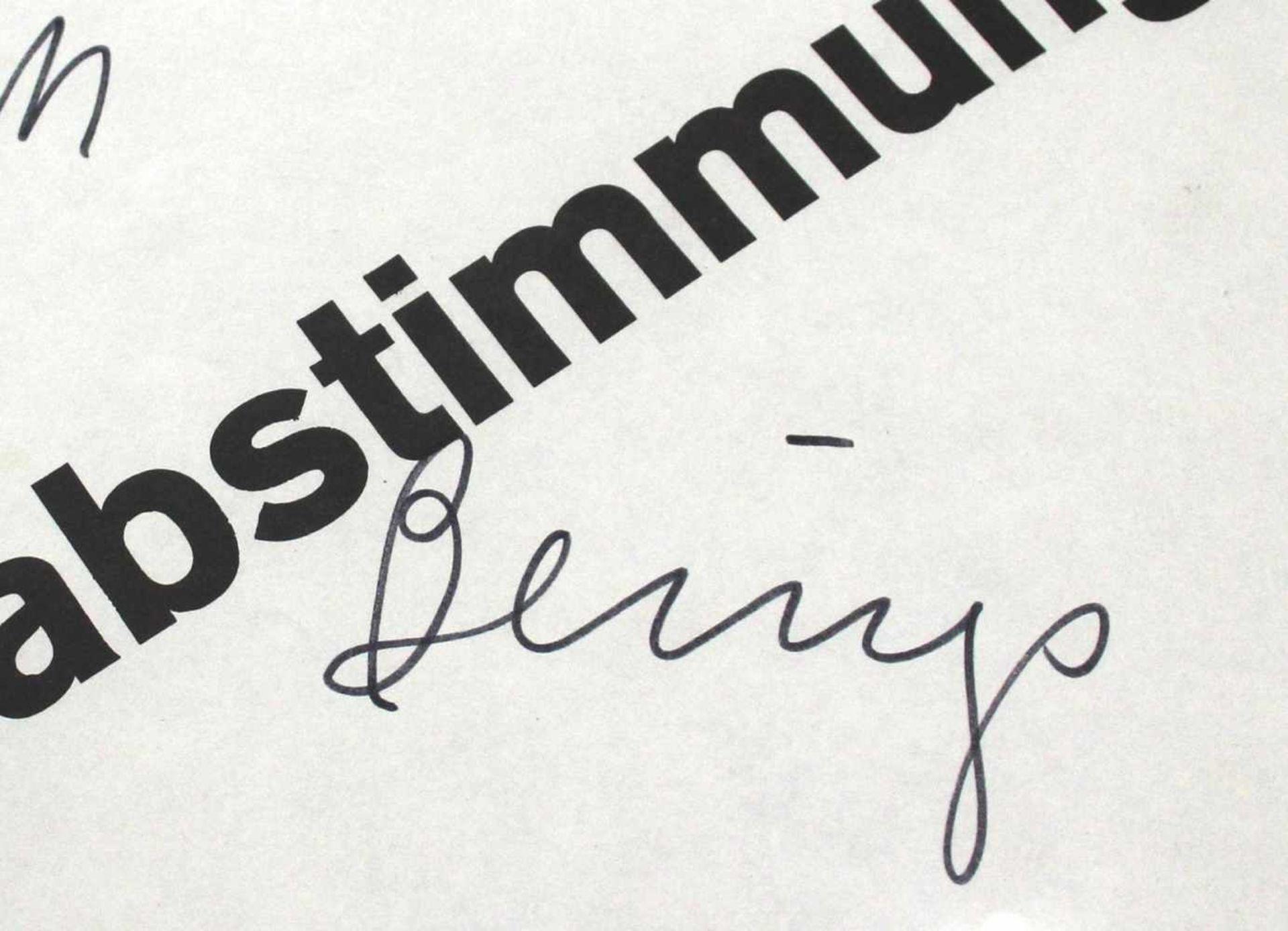 """Joseph Beuys 1921 - 1986 Volksabstimmung 1972 Widmung auf Offset-Plakat handschriftliche Widmung ("""" - Bild 3 aus 3"""