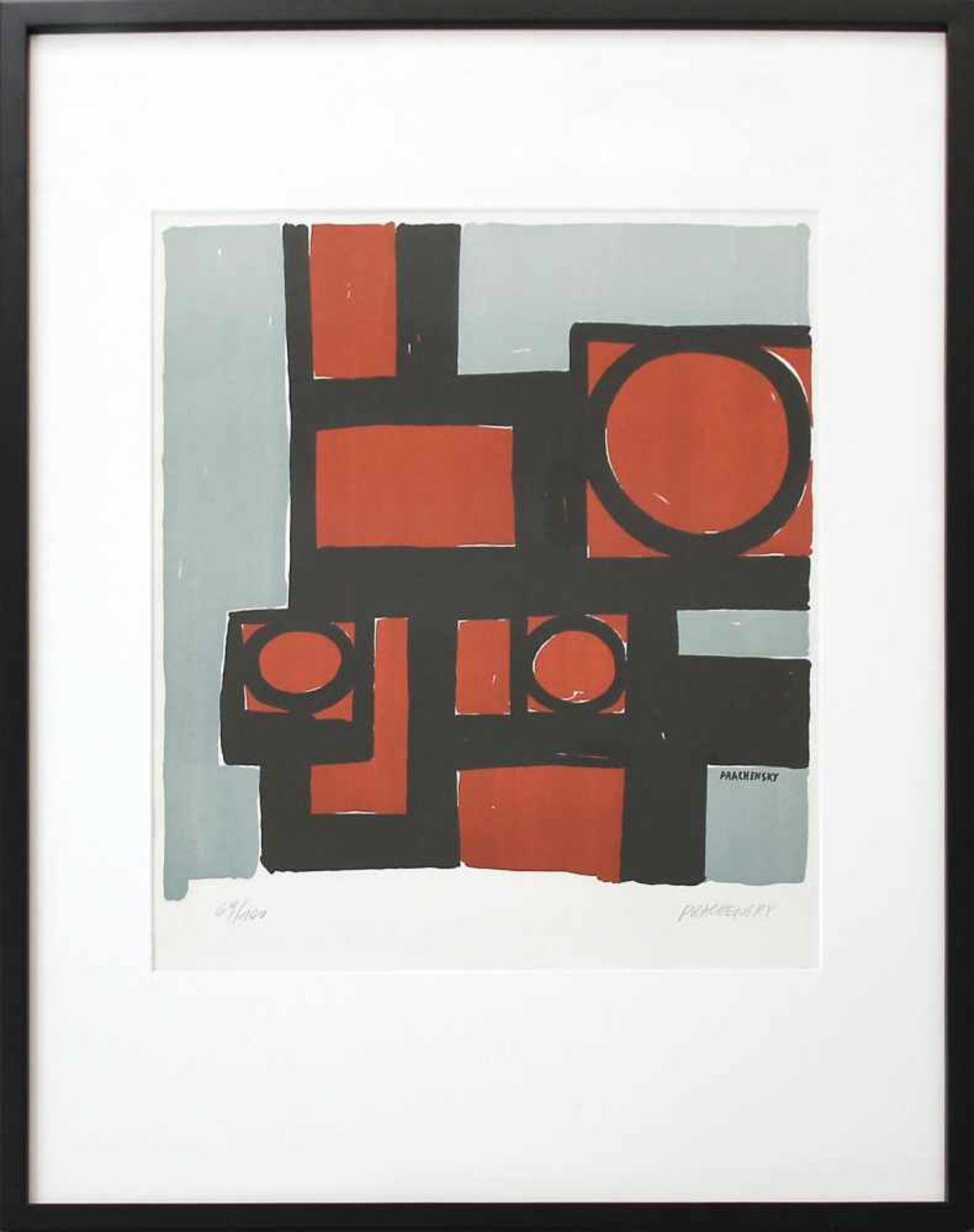 Markus Prachensky 1932-2011 Geometrische Komposition 1950/60 Farblithographie handsigniert und