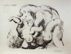 """Pablo Picasso 1881 - 1973 """"Minotaure et Femme nue"""" 1933/1975 Pochoir Lithographie stempelsigniert,"""