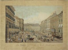 Carl Schütz 1745-1800 Der Naschmarkt um 1900 (gezeichnet 1798) Umrißradierung, altkol. nummeriert