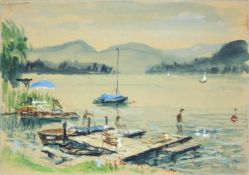Otto Rüdenauer 1914-1978 Wörtersee-Pörtschach 1976 Aquarell signiert, datiert und betitelt 50 x 35
