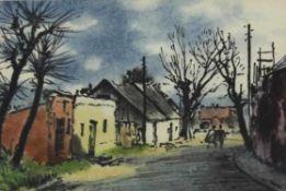 Viktor Pipal 1887-1971 Dorf in Niederösterreich 1955 Aquarell Rahmen ungeöffnet, Titel und