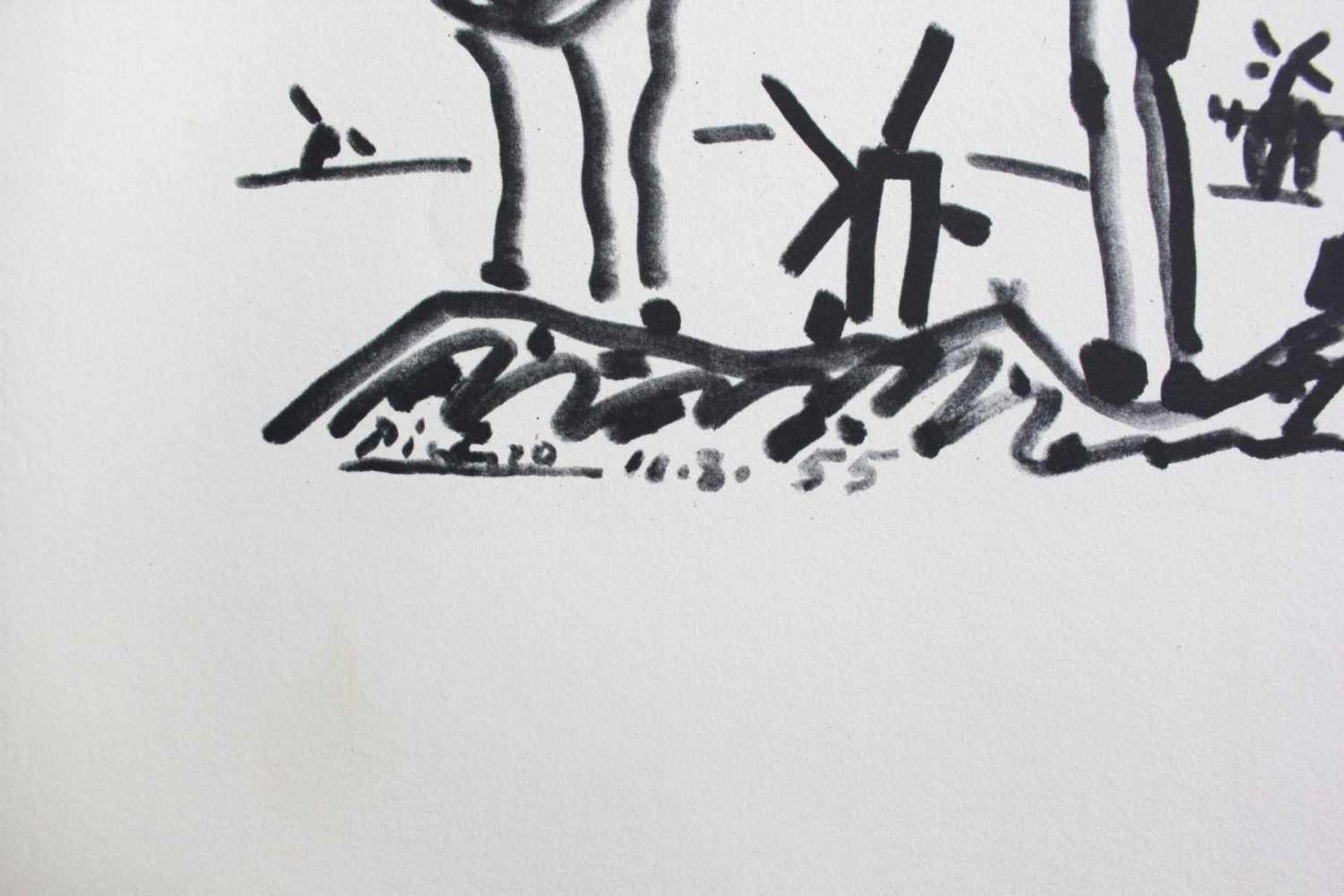 Pablo Picasso 1881 - 1973 Don Quichote und Sanjo Panza Pochoir Lithographie signatur und Datum - Bild 2 aus 2