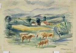 Ferdinand Stransky 1904-1981 Grasende Kühe 1943 Aquarell signiert und datiert 26 x 37 cm