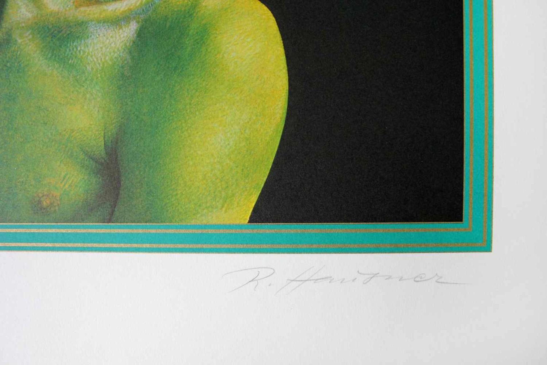 Rudolf Hausner 1914 - 1995 Trauriger Europäer Farbserigraphie handsigniert, betitelt und - Bild 3 aus 4