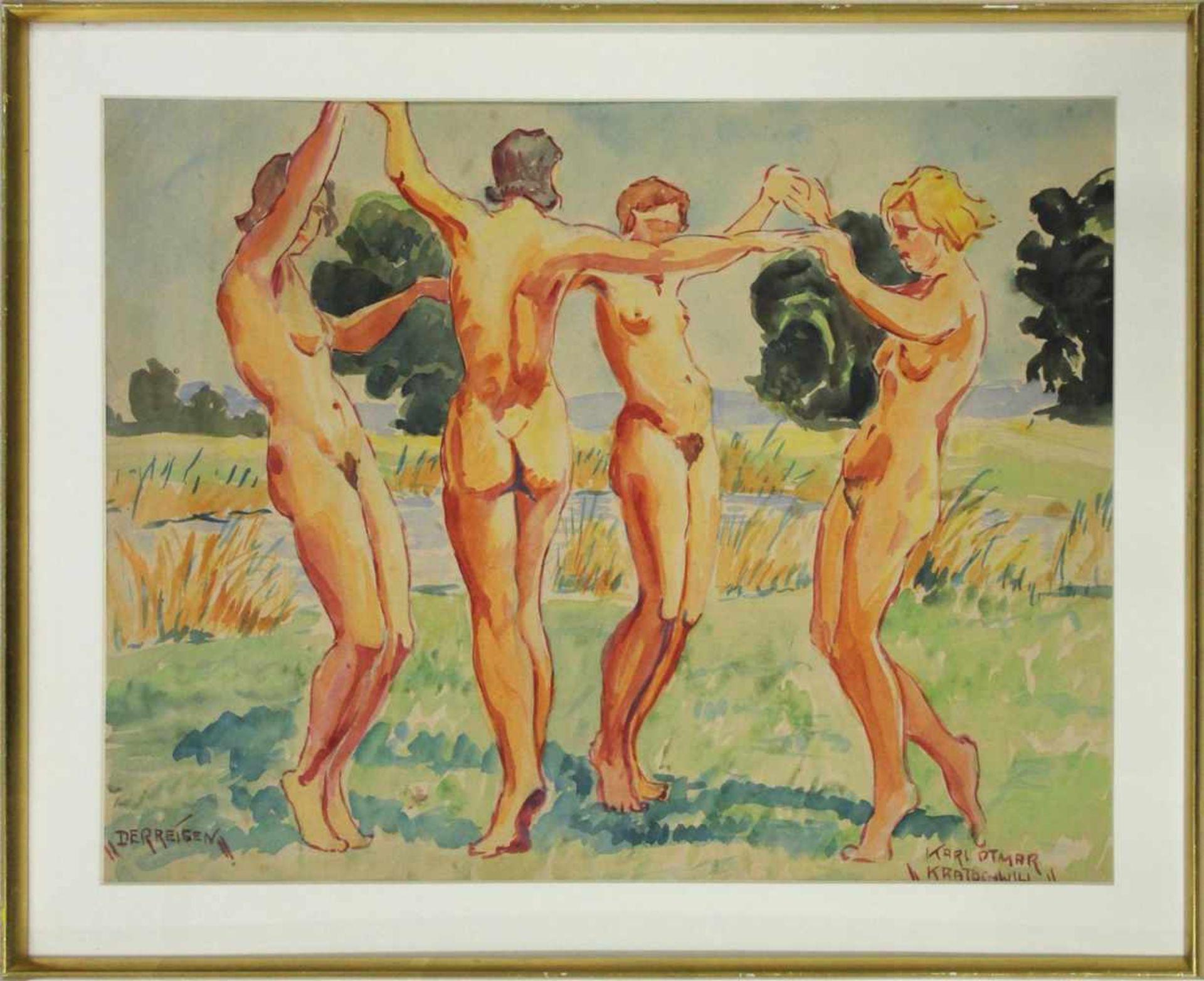 Karl Ottmar Kratochwill geb. 1910 Der Reigen 1932 Öl auf Papier handsigniert, datiert und betitelt - Bild 2 aus 5