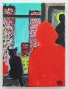 Hammerstiel Robert geb. 1933 Frau mit Katze am New Yorker Fenster 2001/2014 Acryl auf Leinwand