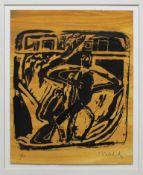 Kaletsch Clemens geb. 1957 Ohne Titel 1986 Holzschnitt handsigniert und nummeriert vorne, Ed. 37/50,