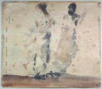 Mostböck Karl 1921-2013 2 Frauen im langen Kleid 1960 Graphit, Aquarell und Tusche auf altem