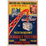 Advertising Poster International Danube Fair Bratislava 1926 Czechoslovakia