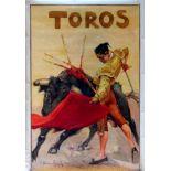 Advertising Poster Toros Bulls Red Cape