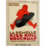French Advertising Poster for the Kiss-Koll Brockman Shoe Sole Galoshes