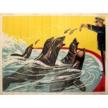 Advertising Poster Fairground Sea Lions Eating Fish