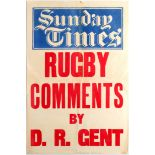 Advertising Poster Sunday Times Rugby Comments by D. R. Gent 1930s