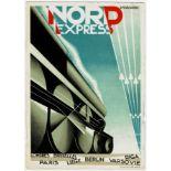 Nord Express Cassandre Art Deco Poster Card