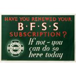 Advertising Poster British Field Sports Society Subscription
