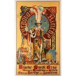 Advertising Poster Carnival de Binche Mardi Grass Buisseret 1910
