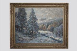 Therese Schachner (Wien 1869-1950) Winterlandschaft, signiert T.Schachner, Öl auf Leinwand, 63x82
