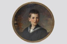 John Quincy Adams (Wien 1874-1933) Portrait, Knabe mit Matrosentracht, signiert Öl auf Holz, Dm.53