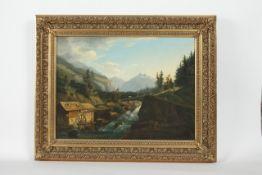 Künstler 18.Jh. Mühle in Landschaft, Öl auf Leinwand, krakeliert, 48x65 cm, gerahmt;