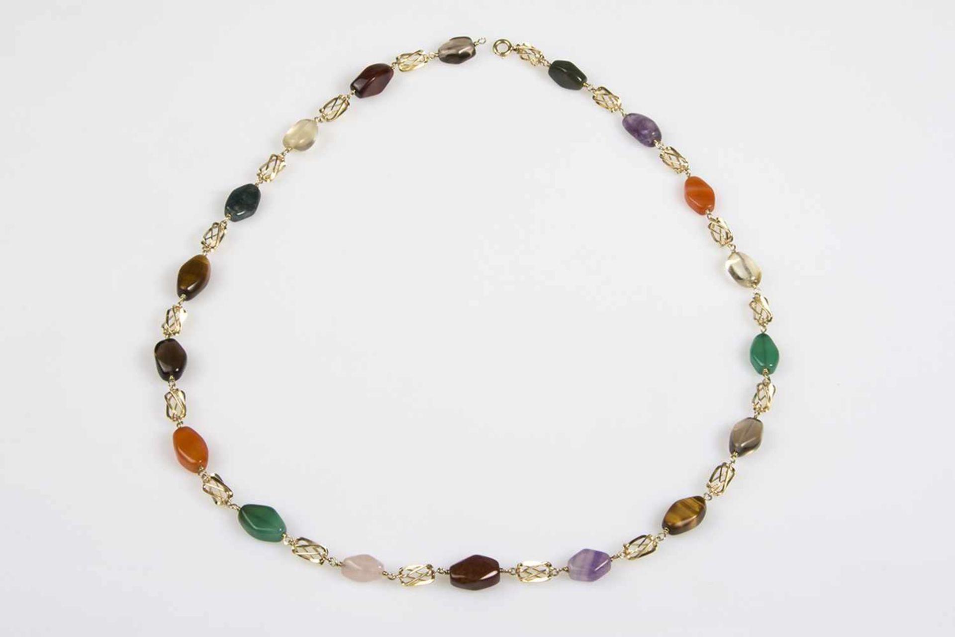 Los 14 - Halskette Gold 585 mit unterschiedlichen Schmucksteinen,Länge ca.68 cm, 75,3 g;