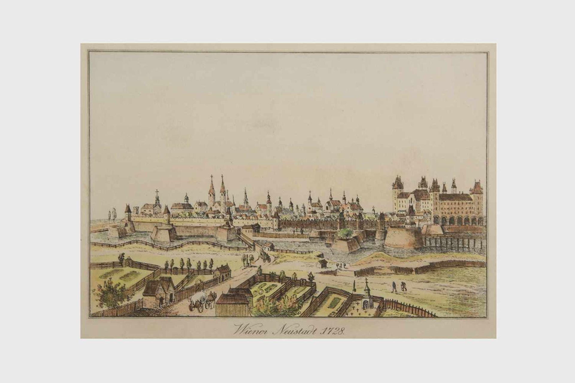 """Colorierter Stich """"Wiener Neustadt 1728"""", Plattengröße 18,5x27cm, verglast gerahmt;"""